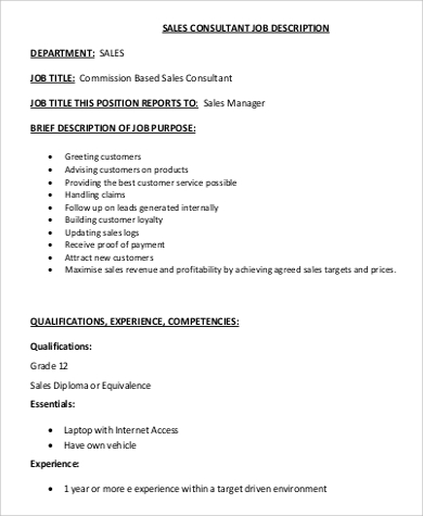 Sales Consultant Job Description Sample   Examples In Word Pdf