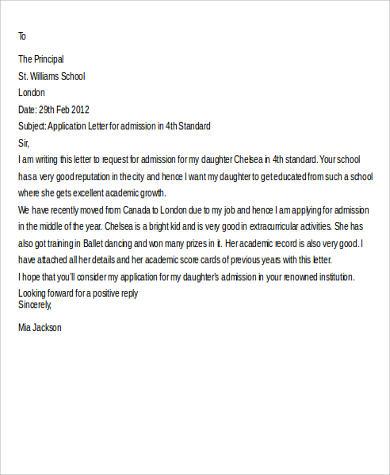 school application letter