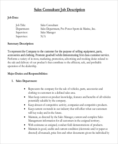 sales consultant job description duties sample