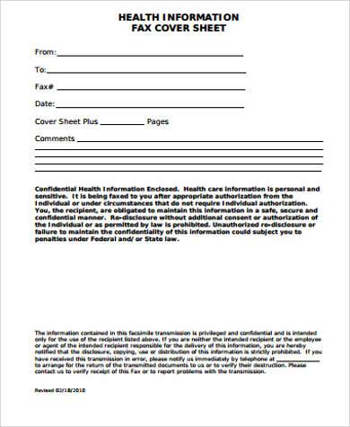printable health fax cover sheet