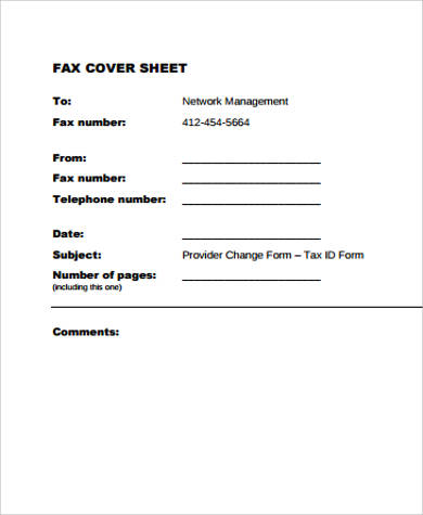 standard printable fax cover sheet