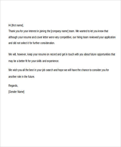 application rejection letter