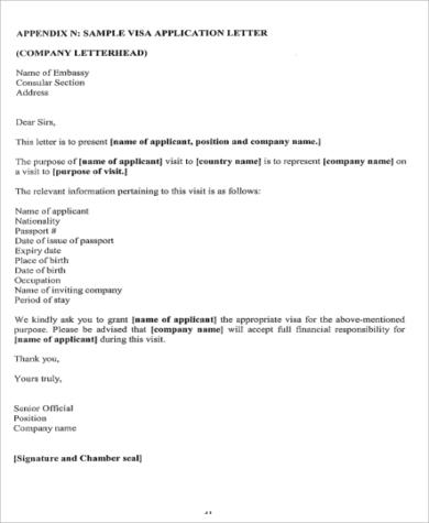 visa application letter format