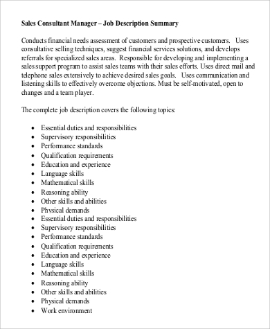 Sales Consultant Job Description Sample - 9+ Examples in Word, PDF