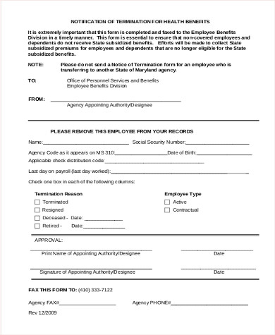 Sample Employee Termination Form   Examples In Word Pdf