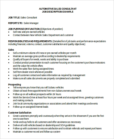 automotive sales consultant job description