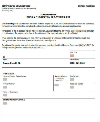 authorization fax cover sheet