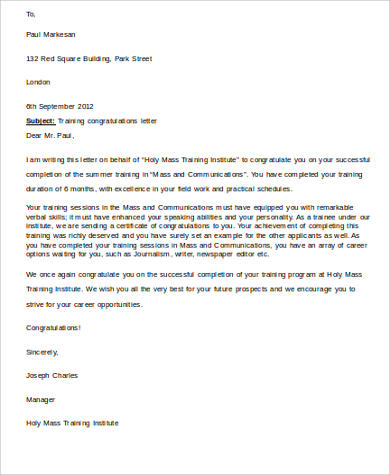 training congratulations letter