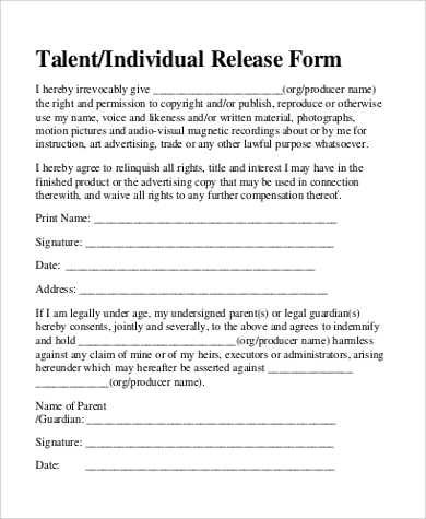 Talent Release Form Pdf Film Release Form In Doc Release Form