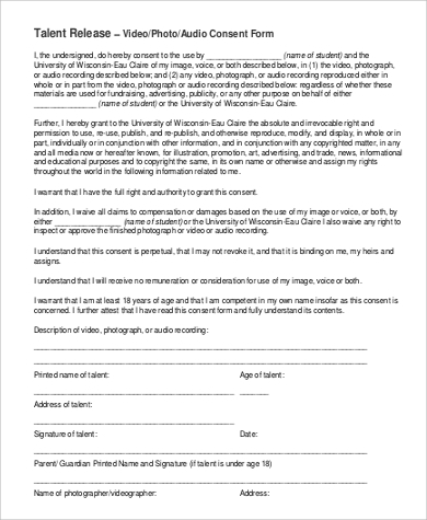 audio talent release form printable