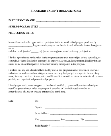9 sample talent release forms sample templates for Standard model release form template