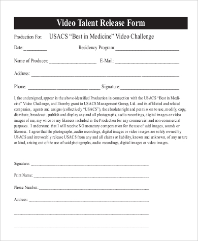 Sample Talent Release Form .