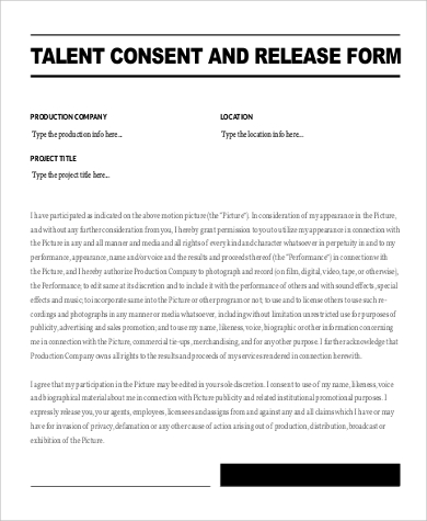 Talent Release Form Pdf. Film Release Form In Doc. Release Form