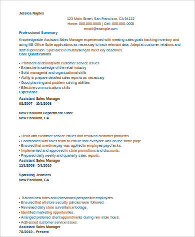 Sales Assistant Manager Resume  Resume Assistant Manager