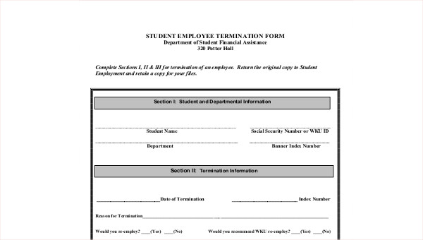 graphic regarding Printable Employee Termination Form referred to as Pattern Staff Termination Variety - 8+ Illustrations inside of Term, PDF