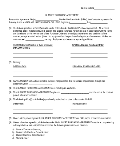 Sample Blanket Purchase Agreement   Examples In Word