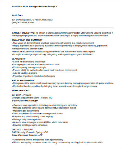 sample assistant manager resume 8 examples in word pdf - Resume Examples For Assistant Manager
