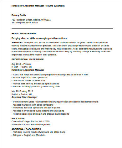 8 sample assistant manager resumes sample templates for Sample resume for assistant manager in retail