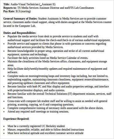 visual techinician job description pdf