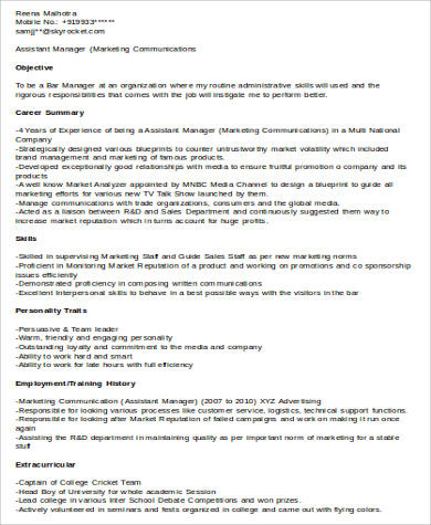 Sample Assistant Manager Resume   Examples In Word Pdf