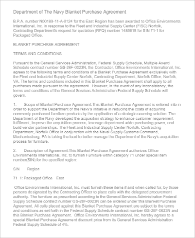 navy blanket purchase agreement