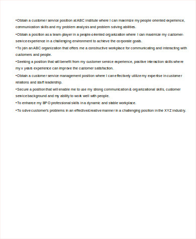 entry level customer service resume objective pdf