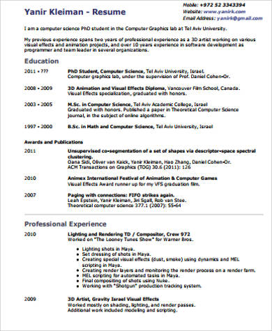 example of visual resume