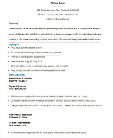 visual technician resume example