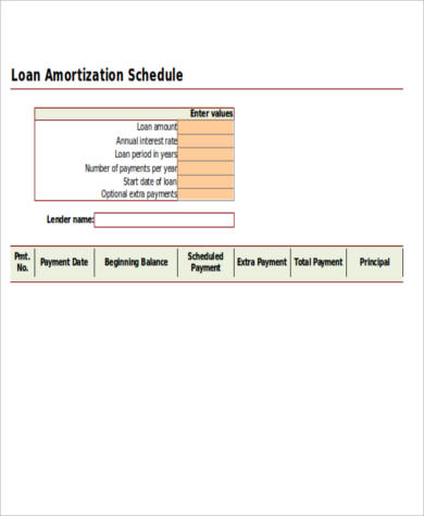 loan amortization schedule spreadsheet