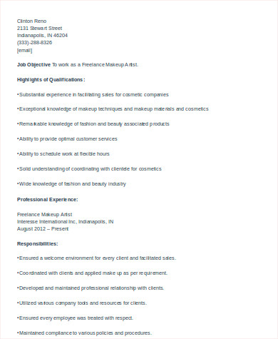 freelance cosmetologist resume sample