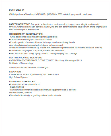 entry level cosmetologist resume - Cosmetologist Resume