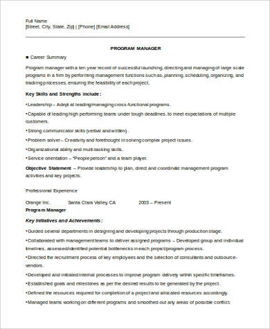 Program Manager Job Resume Example