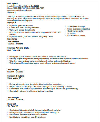 program test manager resume example