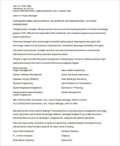 it program manager resume format