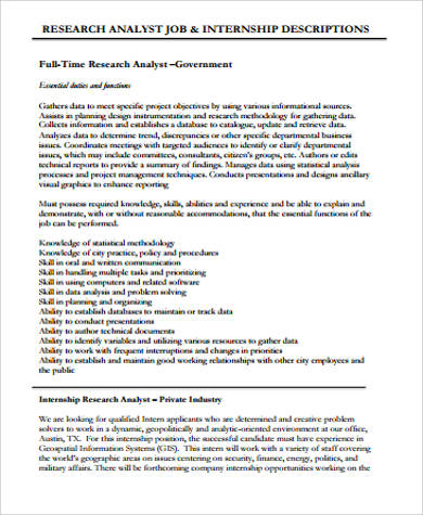 Research Analyst Job Description Sample - 10+ Examples in