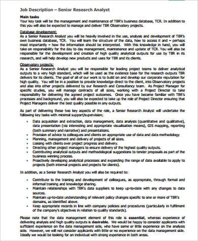 senior research analyst job description