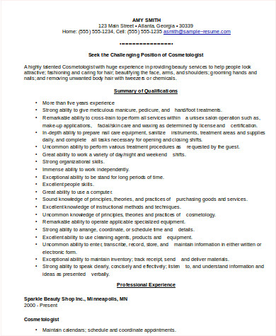 cosmetologist resume sample 6 examples in word pdf