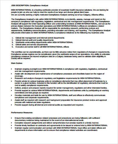 research compliance analyst job description
