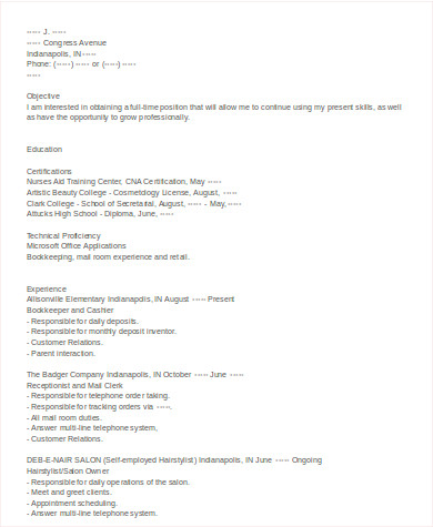 self employed cosmetologist resume
