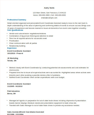 8 Sample Event Coordinator Resumes In Word Pdf