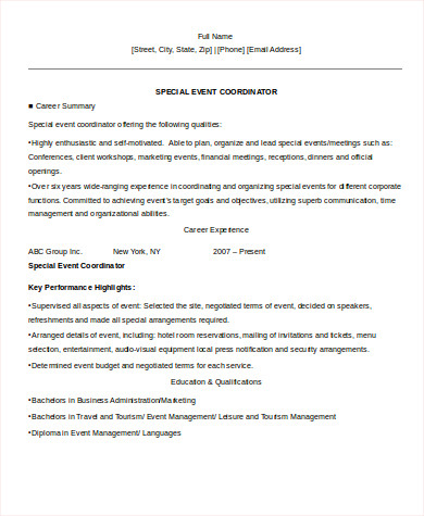 8+ Sample Event Coordinator Resumes in Word, PDF | Sample Templates