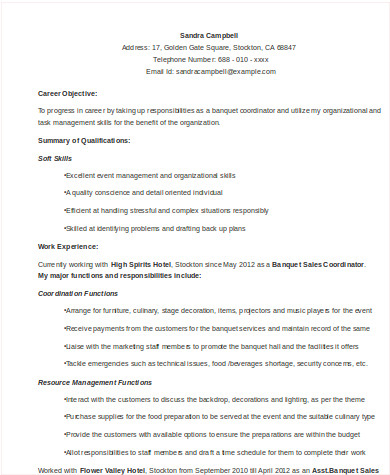 8 Sample Event Coordinator Resumes In Word Pdf Sample Templates