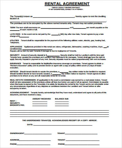 blank rental agreement example