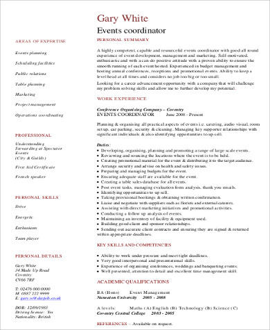 Sample Event Coordinator Resume   Examples In Word Pdf
