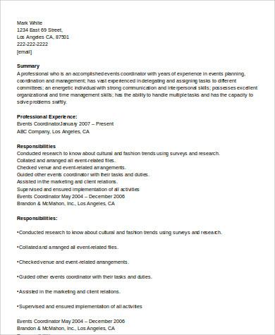 event coordinator experienced resume