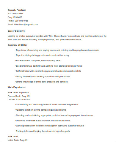 sle teller resume 7 exles in word pdf