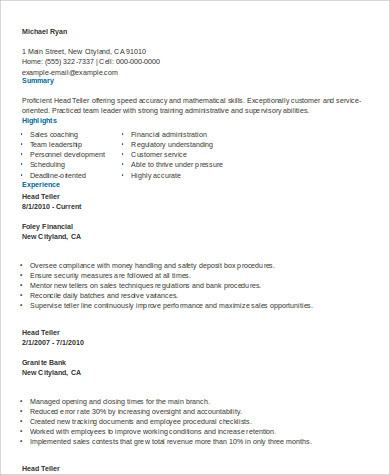 Sample Teller Resume - 7+ Examples In Word, Pdf