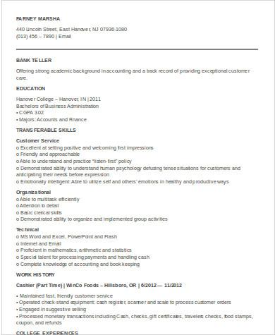 entry level teller resume format