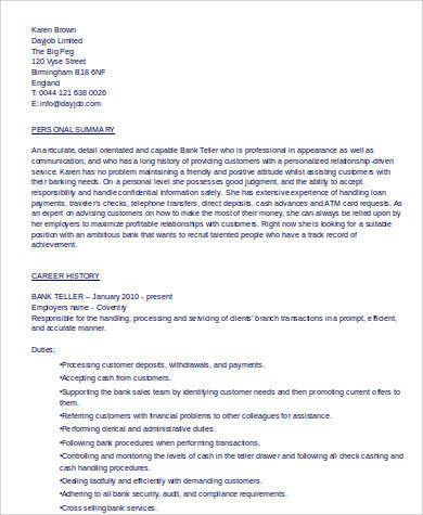 professional teller resume