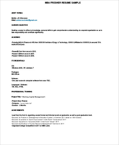 Free 7 Sample Mba Resume Templates In Ms Word Pdf